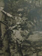 Vtg 1914 Original WWI Photo U.S. Army SOLDIER CAMOUFLAGED IN TREES Ft. Worth TX