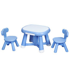 Kids Table and 2 Chairs Set with Storage Bins for Children Drawing Playing Blue