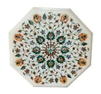 """12"""" White Marble Side Coffee Table Top Carnelian Floral Inlay Garden Decors W316"""