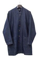 Eskandar Denim Cotton Silk Blue Button Womens Oversized Shirt Jacket Coat - 1