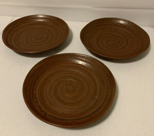 3 Handmade Brown Clay Dishes