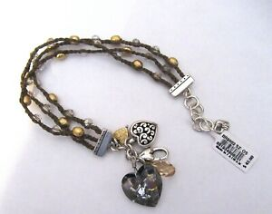 Brighton KARMA HEART bracelet- 3 braided strands- heart charms -crystals brown