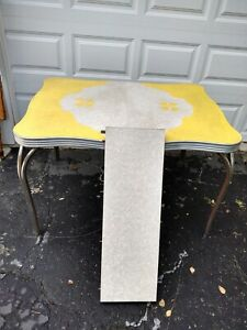 Vintage Mid Century Modern Yellow Gray Formica Chrome Dining kitchen table