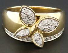 Diamond Butterfly Fashion Cocktail Ring 10K Yellow Gold Round Cut Band 0.35 Ct.