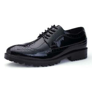 Mens Patent Leather Shoes Lace Up Brogues Formal Business Dress Oxford Shoes