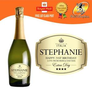 PERSONALISED PROSECCO GOLD BOTTLE LABEL BIRTHDAY WEDDING ANY OCCASION