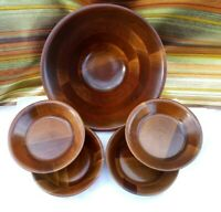 Vintage Mid-Century Walnut Wood 5 pc Salad Bowl Set by Vermillion Springfield MO