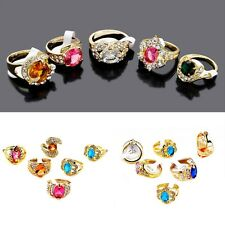 10Stk Damen Mischung Farbe Großhandel Ring Gemischt Strass Kristall Ringe Gold