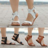 Womens Flat Gladiator Sandals Summer Beach Ladies Ankle Strappy Flip Flops Shoes