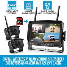 1080P FHD Digital Wireless 7'' DVR Split Monitor Backup Camera For Truck Bus RV