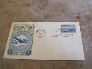 1951 Canada First Day Cover / FDC - 100 years of Canadian Postage - Cachet craft