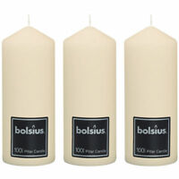 "Set 3 Bolsius Large Ivory Cream 198mm 20cm 8"" Pillar Candle Candles 100 Hours"