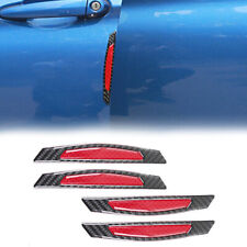 4X Red Reflective Strip Carbon Fiber Sticker Car Side Door Edge Protection Decal
