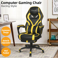 Video Gaming Chair Racing Recliner Ergonomic PU Leather Office Swivel Adjustable