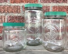 3 Green GOLDEN HARVEST Anchor Hocking Glass Canisters Mason Jars Lids Sm Med Lg
