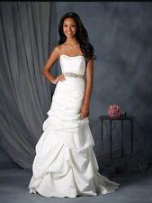 NWT Alfred Angelo 2552W Ivory/Mahogany Size 24W Satin A-line Wedding Gown