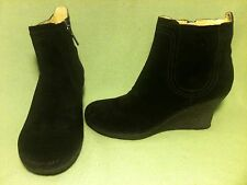 Black Suede Tsubo Wedge Ankle Boots 7