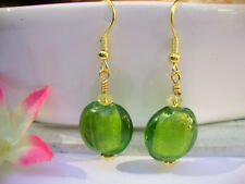 Green Foil Glass Yellow Crystal GOLD Dangle Earrings USA Seller Artisan