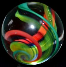 "GENOVINI HANDMADE ART GLASS MARBLE/1.313""-LOOSE LUTZ CORKSCREW-BLUE & GOLD LUTZ"