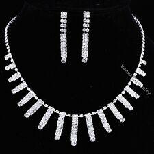 Bridal Wedding Jewelry Prom Rhinestone Crystal Necklace Earrings Set N315