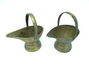Vintage Pair Chinese Brass Small Floral Decorative Serving Dishes Creamers Boats