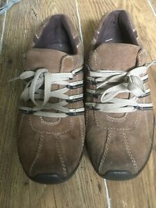 MENS UK SIZE 8 BROWN SUEDE LEATHER LACED TRAINERS PREOWNED