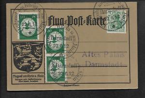 DR Flugpost 1912 3 x 30Pfg grün Darmstadt