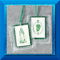 GREEN SCAPULAR LAMINATED Immaculate Heart of Our Lady Catholic