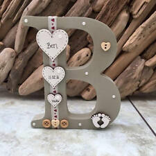Freestanding Personalised Wooden Letter Handmade New Baby or Christening