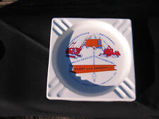 vintage construction advertising ashtray metal Very Sharp!