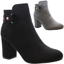 Ladies Chelsea Boots Mid High Block Heels Casual Womens Ankle Strap Shoes Size