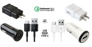 For Samsung Galaxy S9 S8plus Note 8 Note 9 Adaptive Fast Type C Home+Car Charger