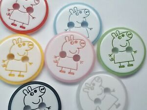 """10 Peppa Pig Buttons 12mm (1/2"""") Baby Boy Girl Clothing Knitting Sewing Buttons"""