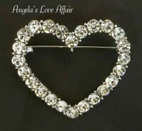 VINTAGE STYLE SILVERTONE CLEAR CRYSTAL HEART BROOCH PIN WEDDING BRIDAL LOVE