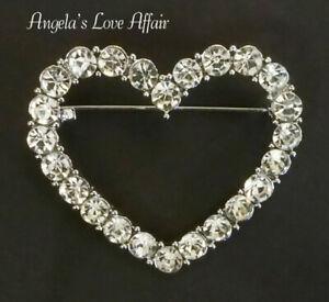 VINTAGE STYLE SILVERTONE CLEAR CRYSTAL HEART BROOCH PIN WEDDING BRIDAL LOVE