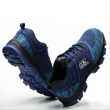 Mens Safety Shoes Summer Breathable Steel Toe Work Boots Hiking Climbing