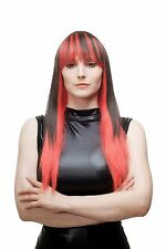 Diabolique Séduisant Perruque Pour Femme Cosplay Rouge Noir lisse Pony HLA040