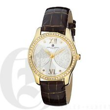 Charles Hubert Womens Big Face Watch Brown Leather Swarovski Bezel 6784-G