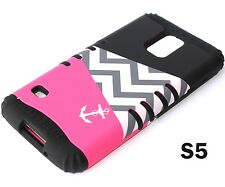 For Samsung Galaxy S5 - HARD & SOFT RUBBER HYBRID CASE PINK BLACK ANCHOR CHEVRON