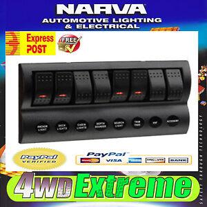 NARVA LED LIGHT CUSTOM ROCKER SWITCH PANEL BOAT DASH MOUNT MARINE 8 WAY 63196