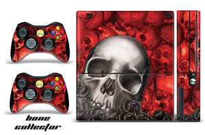 Skin Decal Wrap for Xbox 360 E Gaming Console & Controller Sticker Design BONE R