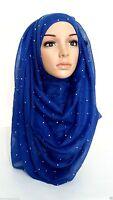 Plain Shimmer Pattern Maxi Big Large Stone Scarf Wrap Shawl Hijab Sarong stn