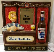 "Vintage 1950s Pabst Blue Ribbon ""Now Serving You"" Beer Bar Advertising Wall Sign"