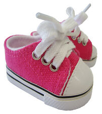For Bitty Baby + Twins; Hot Pink Sneakers Canvas Gym Shoes Doll Clothes