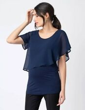 BNWT Maternity Nursing Breastfeeding Evening Going Out Smart Top Blue Size 12