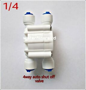 """1/4"""" Push-Fit 4-Way Automatic Shut-Off Valve for Reverse Osmosis Systems new"""
