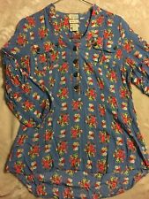 #9 Matilda Jane Top Blouse Blue Floral 3/4 Sleeve Womens XS ruffles