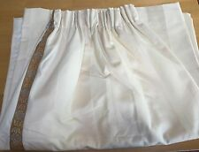 "VINTAGE 1980's PROFESSIONALLY MADE PAIR IVORY WIDE STRIPE DRAPES 48"" W X 84"" L"