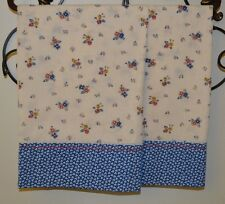 Floral Blue Pillowcases, Two Handmade standard queen New, from vintage fabric