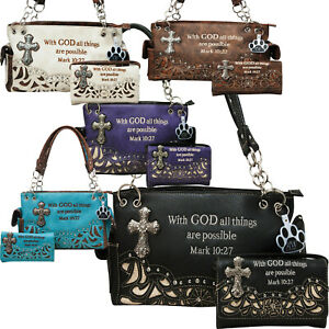 Bible Verse Stone Cross Western Country Purse Concealed Carry Handbag Wallet Set